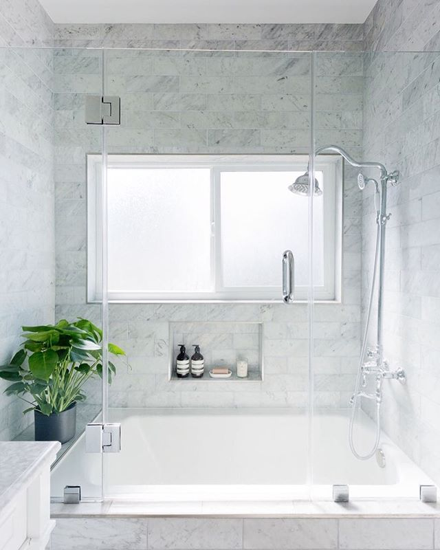 Thank you @homepolish for featuring one of my bathroom remodels! Small bathrooms on a budget ... and we still managed to give our client a marble shower! @homepolish 📷@amybartlam #anythingispossible #bathroomremodel #simplicity #interiordesign #homepolish #construction