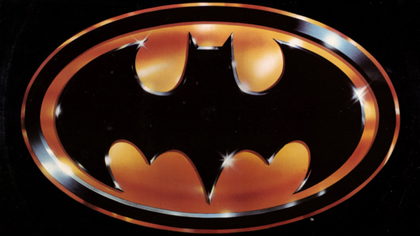 The iconic metallic gold version of the classic Batman emblem created by the film's production designer,Anton Furst.