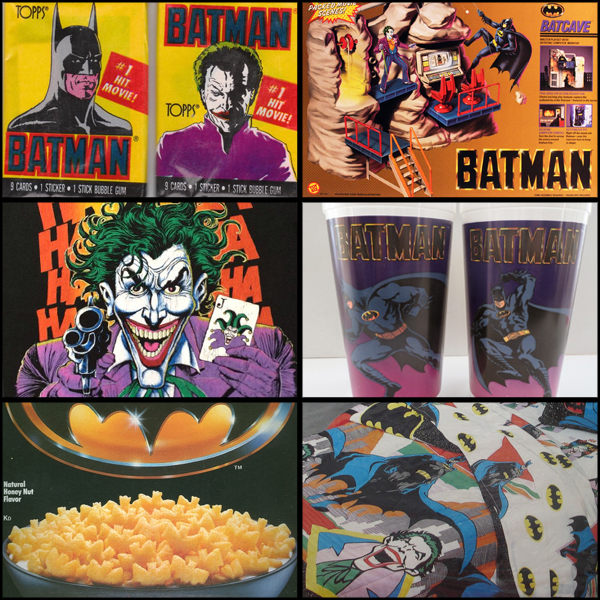 From top left to bottom right: Topps Batman trading cards, Toy Biz Batcave playset, Joker t-shirt, Taco Bell promotional cups, Ralston Batman cereal, and Dacron Batman twin sheet set.