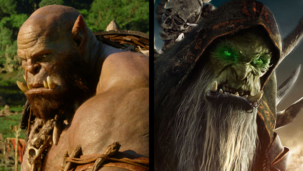 Durotan's friend (left) looks infinitely more realistic than Gul'dan (right).
