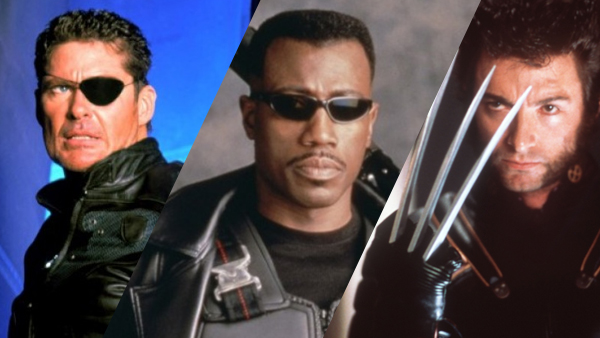 We've come a long way, baby! (From left to right) David Hasselhoff stars in the forgettable made-for-TV film  Nick Fury: Agent of S.H.I.E.L.D.  (1998), Wesley Snipes makes his mark as  Blade  (1998) the vampire hunter, and Hugh Jackman becomes a global superstar after his first turn as Wolverine in  X-Men  (2000).