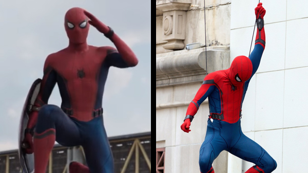 While it was confirmed that the entirety of Spider-Man's new suit in  Captain America: Civil War  was created using CGI (left), early set photos from  Spider-Man: Homecoming  (right) show that an actual practical suit exists for the actor and stunt doubles to wear.