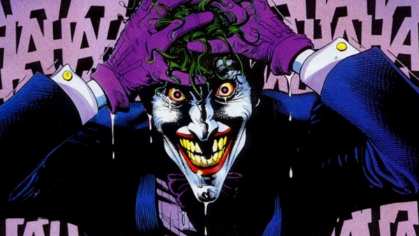 One of the most famous artistic renderings of the Joker ever depicts him howling with laughter after rising out of his chemical baptism. Art by Brian Bolland.