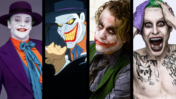 Batman: The Killing Joke has touched every actor who has since dared to walk a mile in the clown's shoes. Left to right: Jack Nicholson in Batman (1989), Mark Hamill in Batman: Mask of the Phantasm (1993), Heath Ledger in The Dark Knight (2008), and Jared Leto in Suicide Squad (2016).