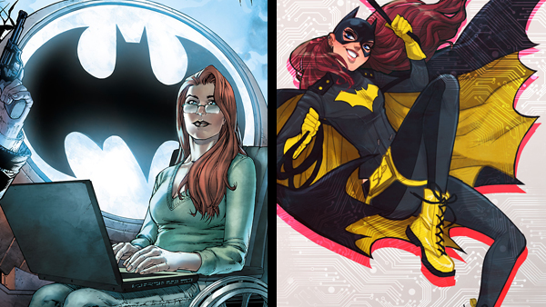 Left: Barbara Gordon remained the wheelchair-bound computer genius for over 20 years. (Art by Shane Davis) Right: The modern, more light-hearted Batgirl comics put the infamous Killing Joke story arc to rest. (Art by Babs Tarr)