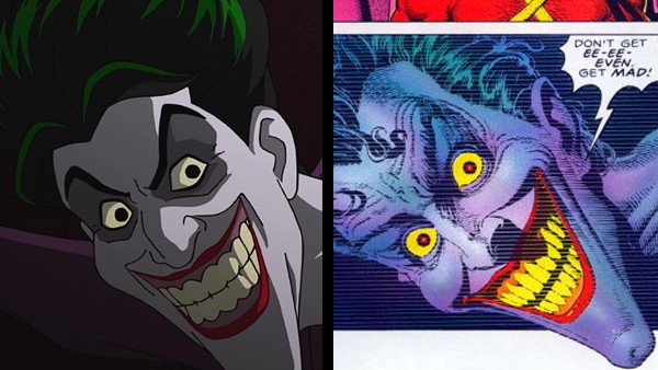 No matter how slickly it's drawn, the streamlined animation style of the film (left) falls short of capturing the horrific tone of the story's original imagery (right).