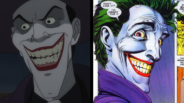"""Don't like it? I'm crazy for it!"" The Joker's big reveal in the film (left) and the exact same moment in the comic (right), where an unsettling close-up of his face takes up two-thirds of the page. Now, you tell me, which of these images will haunt your nightmares tonight..? That's what I thought."