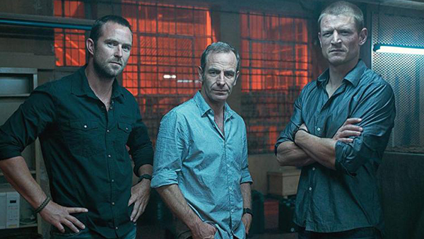 Damien Scott (Sullivan Stapleton, left) and Michael Stonebridge (Phillip Winchester, right) serve as the main characters for all four seasons, with Phillip Locke (Robson Green, center) joining the show for the final two seasons as the commanding officer of Section 20.