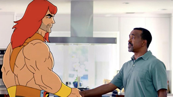 Zorn meeting Edie's fiancé Craig (Tim Meadows), who is surprisingly not phased about meeting a giant, muscular cartoon barbarian.