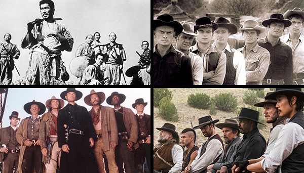 The various incarnations of the titular Seven:  Seven Samurai  (1954),  The Magnificent Seven  (1960),  The Magnificent Seven  (TV 1998-2000),  The Magnificent Seven  (2016).