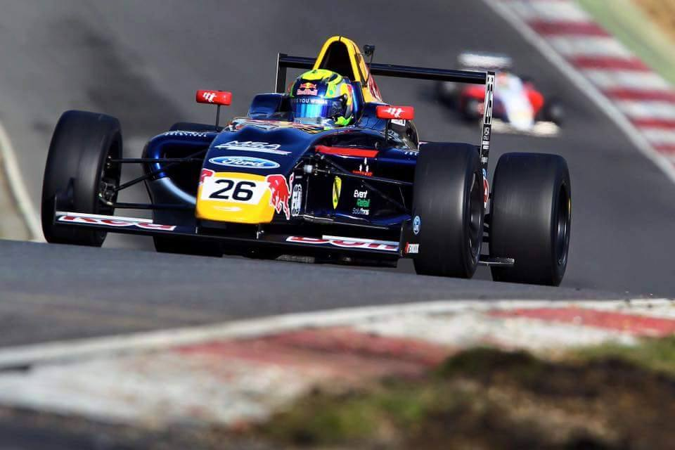 Luis is seen testing the new 2016 Arden car at Brands Hatch