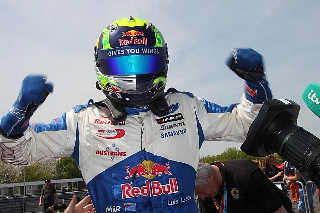 Luis Leeds celebrates his victory in the British F4 race at Thruxton