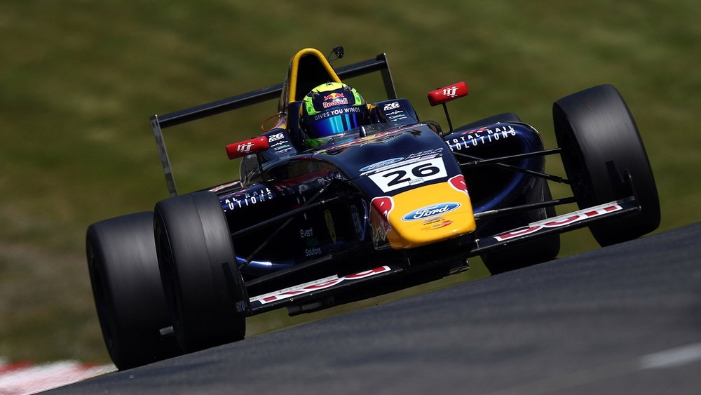 Luis Leeds is seen in his Red Bull Junior Team F4 car