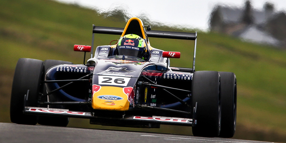 Luis Leeds is seen in his Red Bull Junior Team F4 car at Knockhill