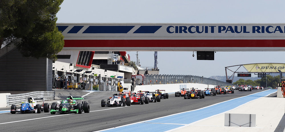 The Formula Renault 2.0 race is seen at Paul Ricard circuit, France.