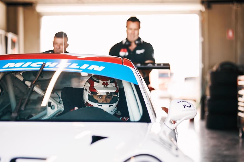 Luis Leeds is seen in his 23 Red Racing Porsche GT3