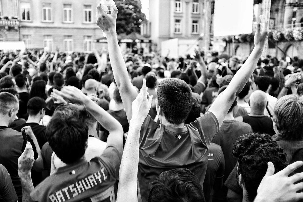 Fans cheering for Belgium