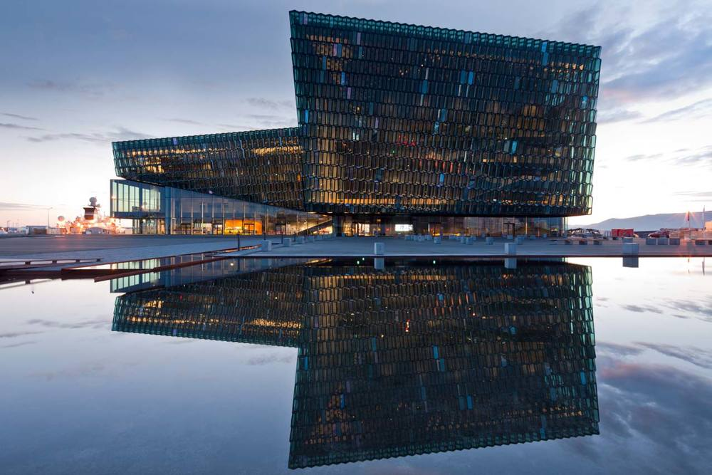 Harpa Reykjavik concert hall by Henning Larsen Architects with a facade developed in collaboration with artist Olafur Eliasson.