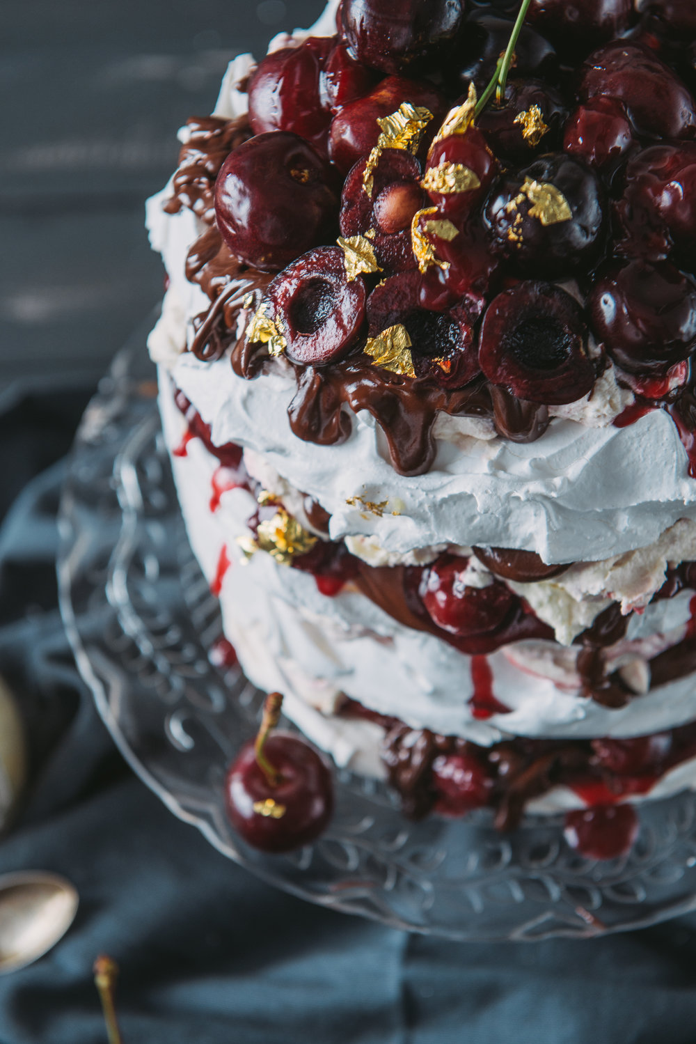 Cherry and Chocolate Pavlova