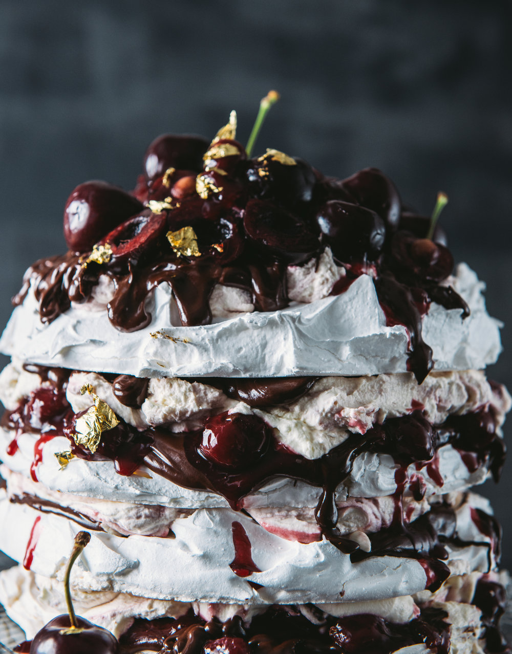 Dark Chocolate and Cherry Pavlova