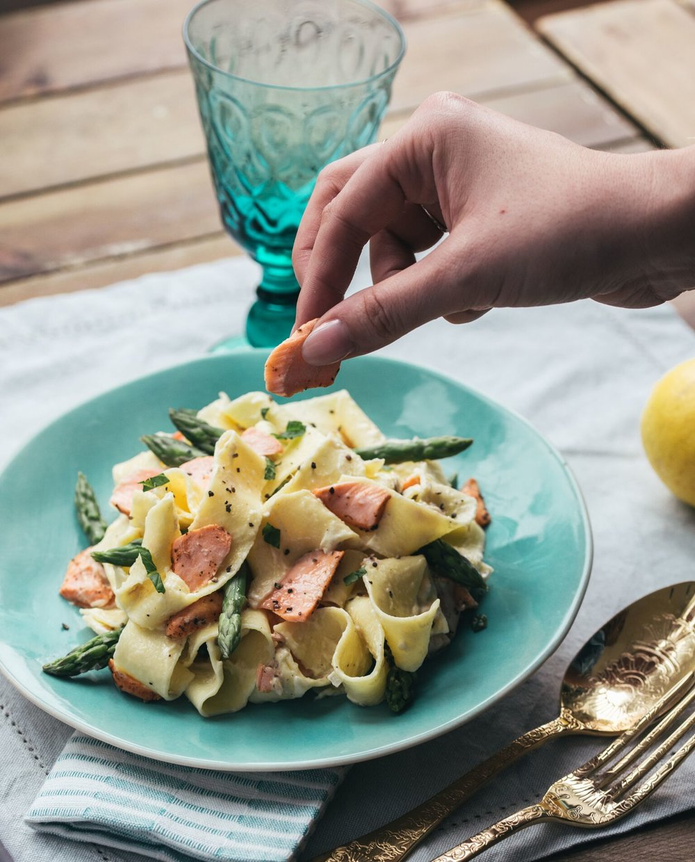 BigFish Brand minted Salmon Pasta