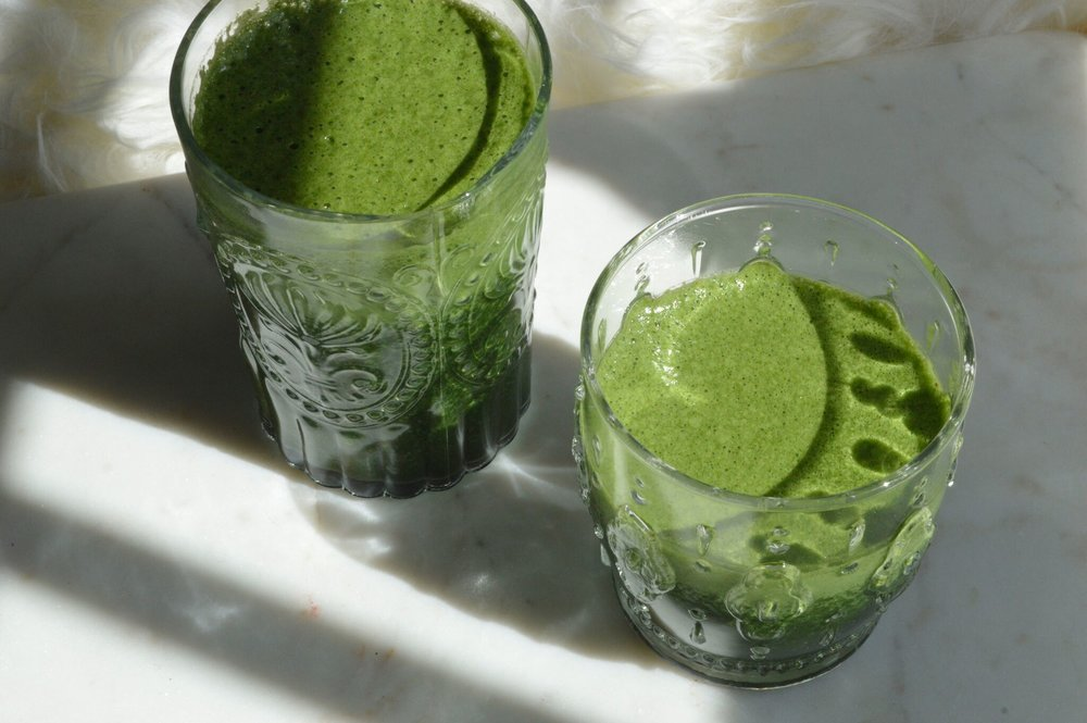 matcha and spirulina smoothie