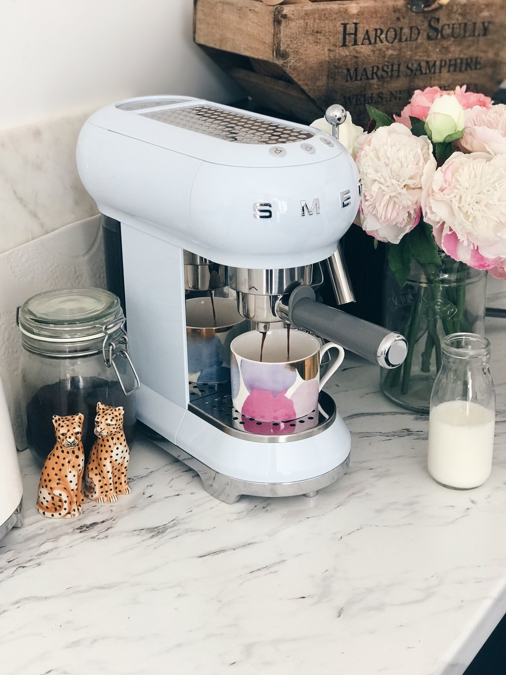 Light Blue Smeg Coffee Machine, The Creative Larder Food Blog Review