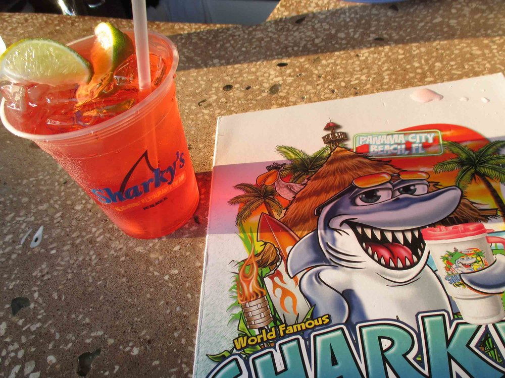 Sharky's Beachfront Restaurant Drink and Menu
