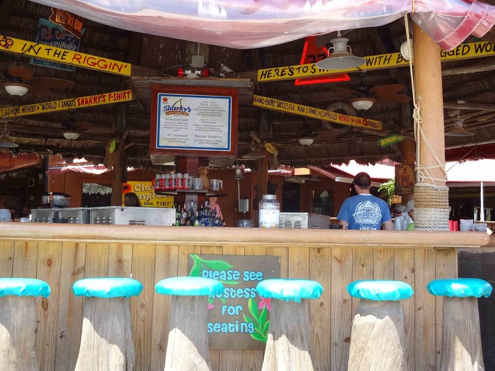 Sharky's Beachfront Restaurant Outdoor Tiki Bar