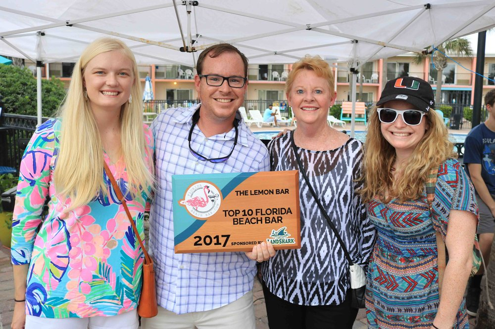 The Leadership team at the Lemon Bar  Accepts the 2017 Top 10 Florida Beach Bar award