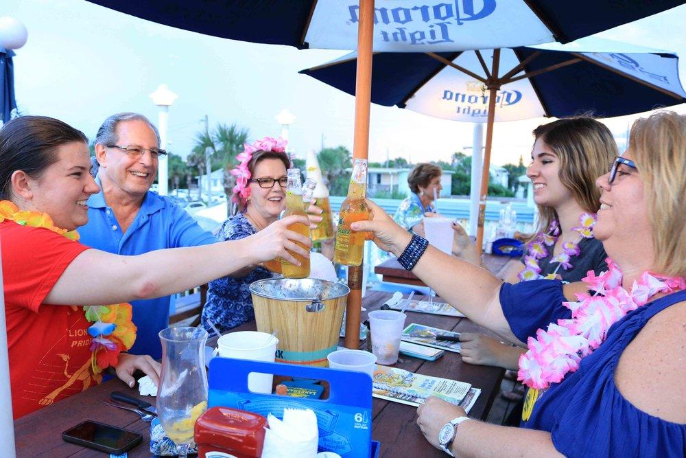 Celebrating with landshark at the Golden lion cafe