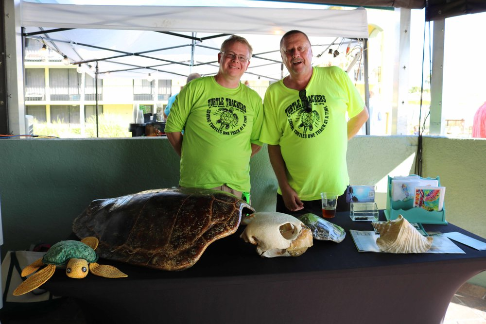 sea turtle trackers were at harry's beach bar party raising awareness for this important organization