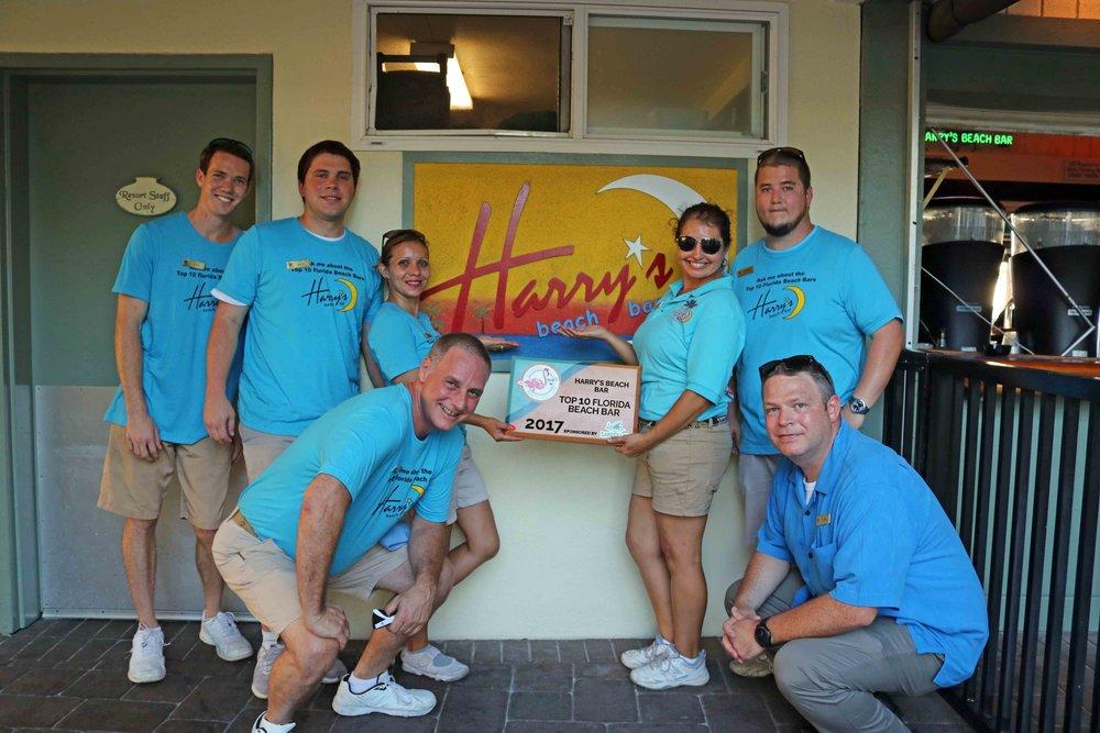 Harry's beach bar placed #5 and received a 2017 top 10 florida beach bar award