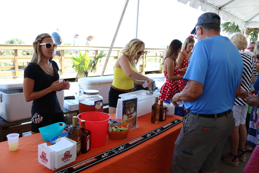 margaritaville and other vendors were handing out samples at sharky's award party