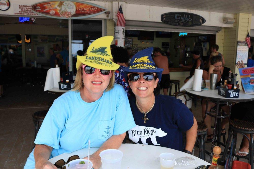 celebrating with landshark hats- fins up!