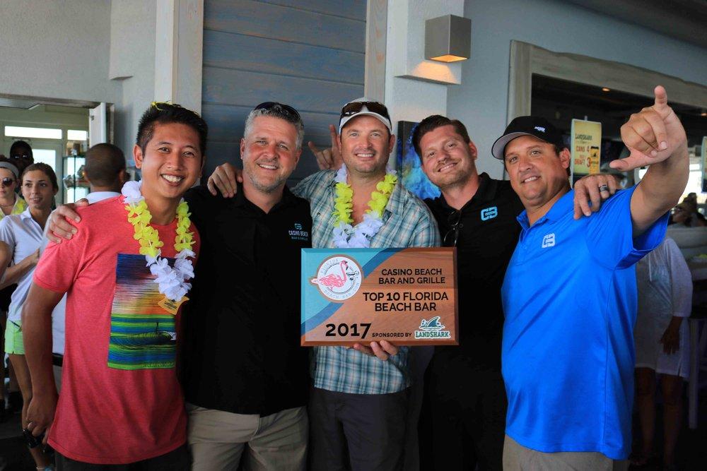 casino beach bar placed #10 and received a 2017 top 10 florida beach bar award
