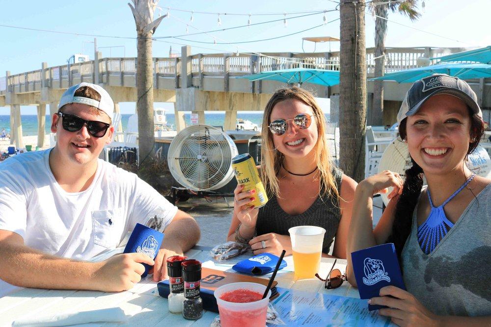 celebrating at casino beach bar with landshark