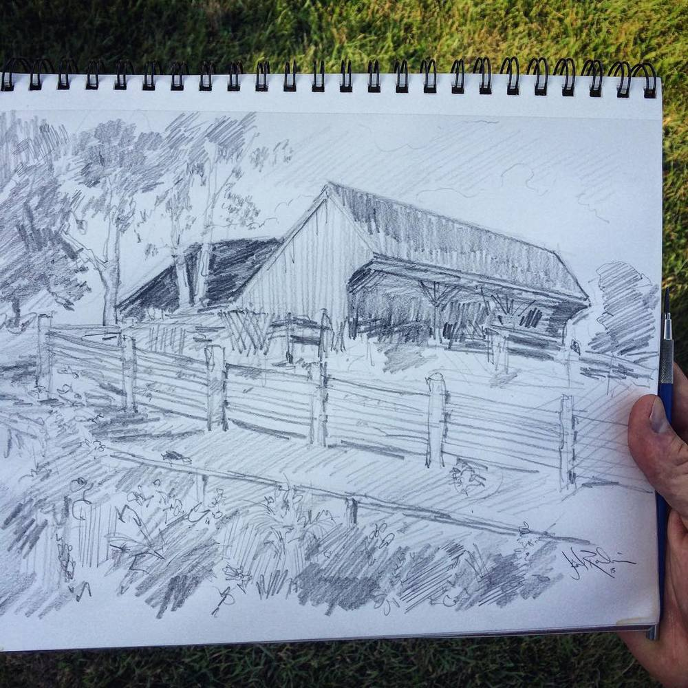 Aunt Martha's farm  #sketch #sketchbook #summer  (at Lyndon Center, Vermont)