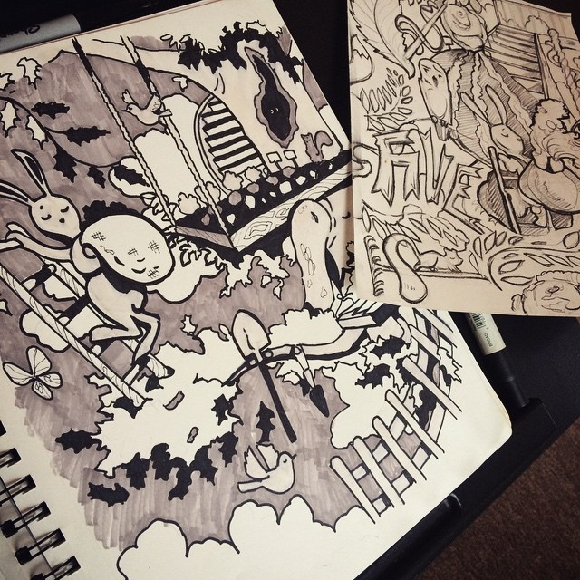 Rainy day #mural #sketching #illustration #sharpie #sketchbook