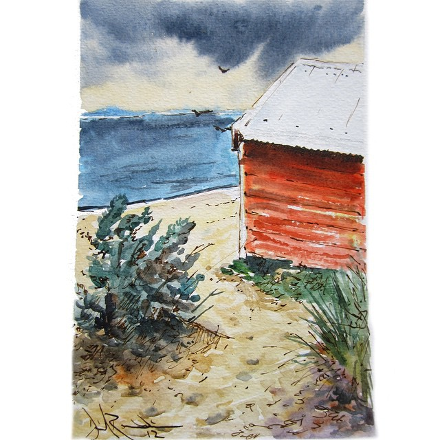 #tbt beachside watercolor sketches at Brighton, VIC