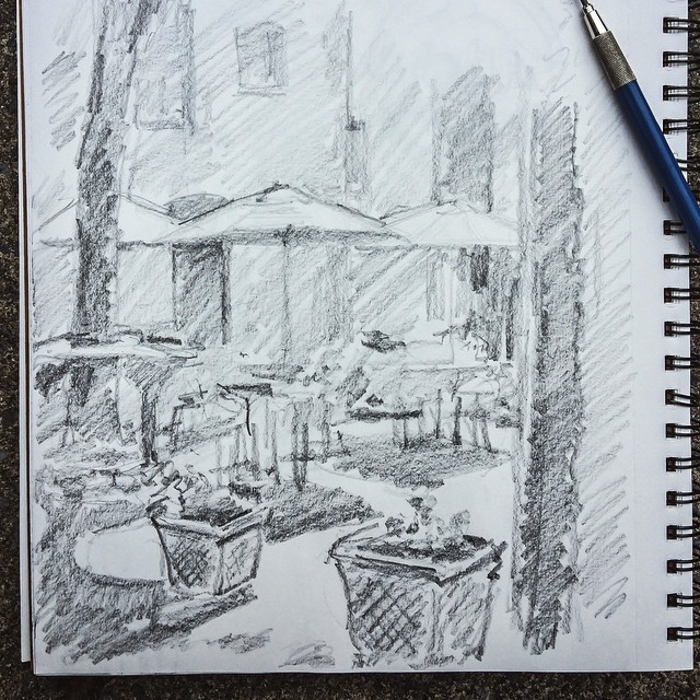 Friday arvo patio shadows #sketching #exploresaratoga #sketch #sketchbook #pencil #tgif