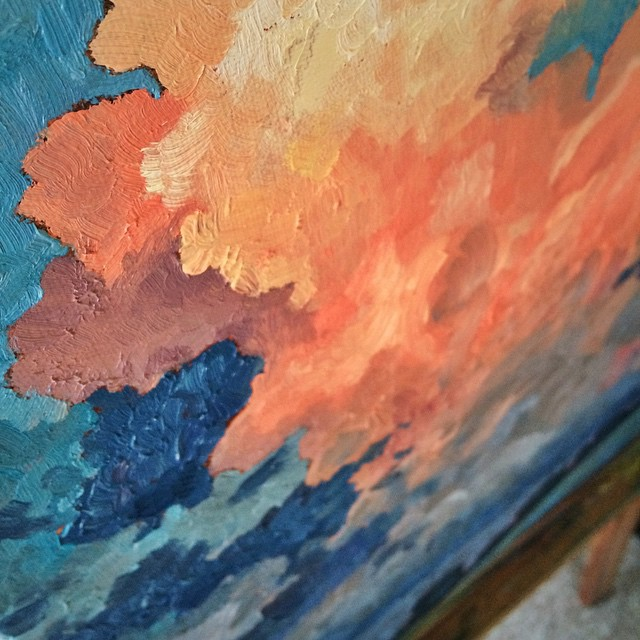 Subtractive color for the win. #painting #oilpainting #oil #sundayfunday #brushstrokes #canvas #clouds #landscape #color #august #sneakpeek