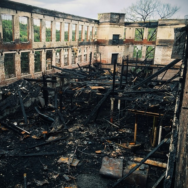 abandoned paper mill @createandskate the whole place burned! my piece on the back wall is gone…