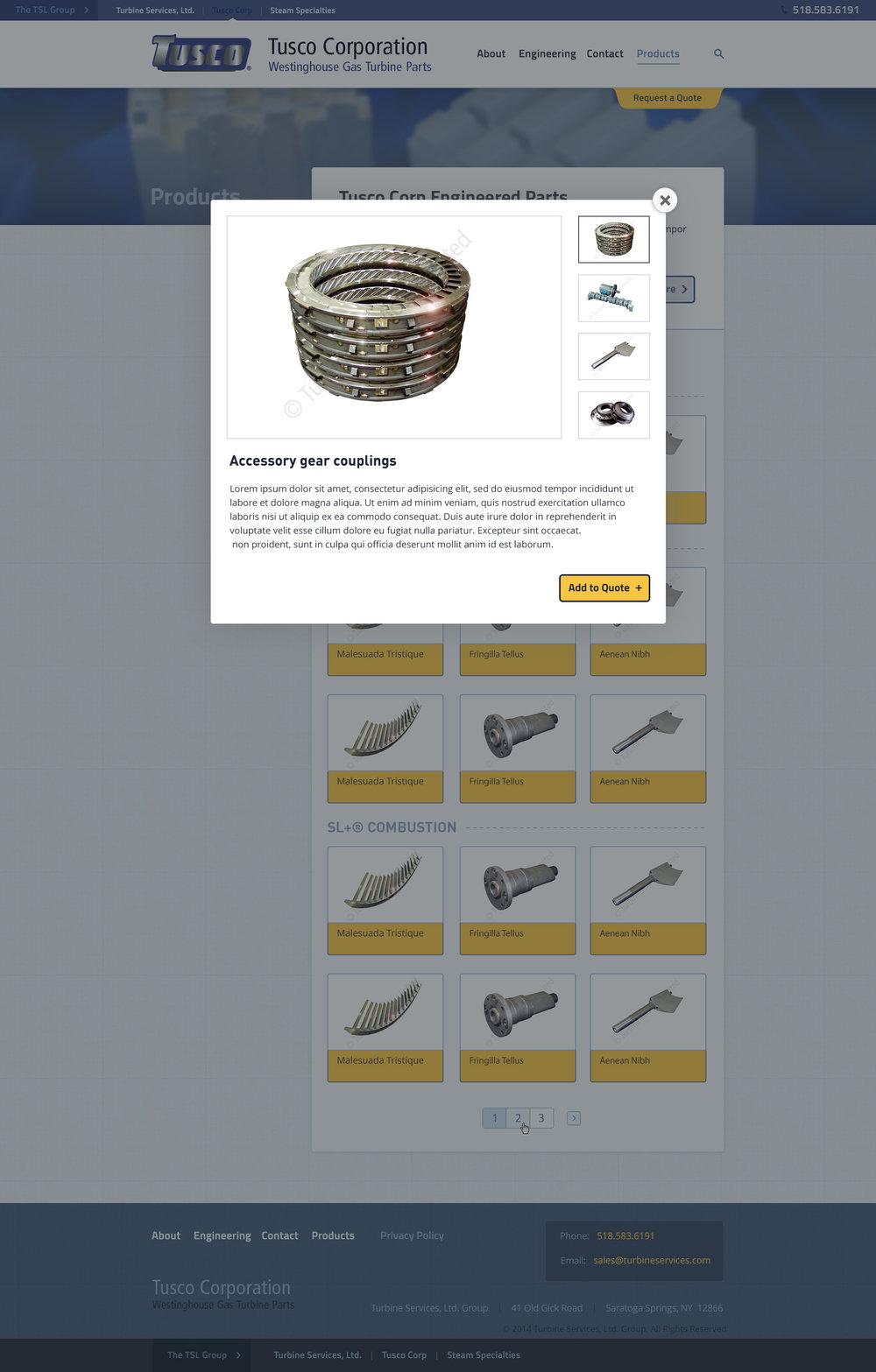 """Tusco Corp"" sub-site, parts page"