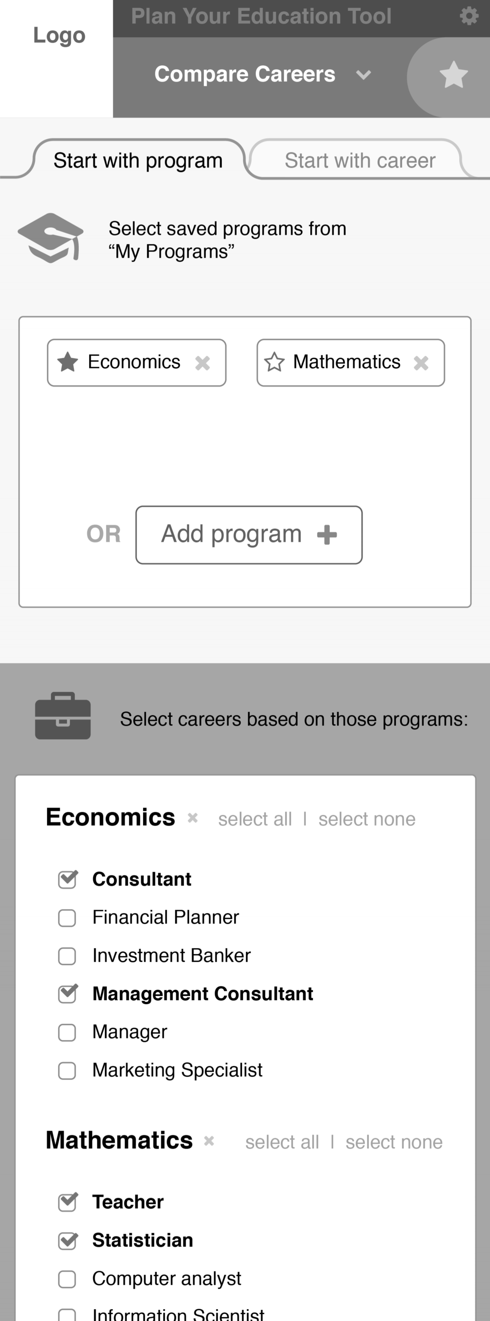 Career comparison wireframe, mobile