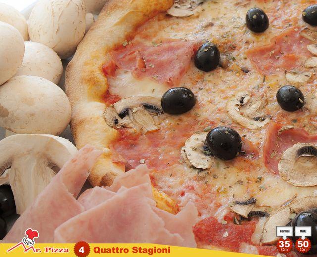 #4 - 4 Stagioni tomato . mozzarella . ham . fresh mushrooms . olives . oregano