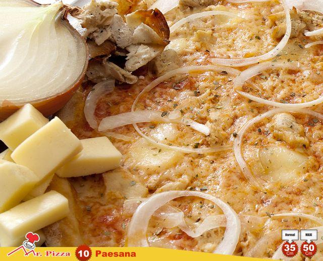 #10 - Paesana  tomate . mozzarella . frango . queijo de ovelha . cebola . oregãos