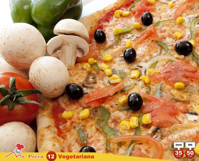 #12 - Vegetariana  tomate . mozzarella . pimento . azeitona cogumelos frescos . milho . cebola . tomate fresco . oregãos