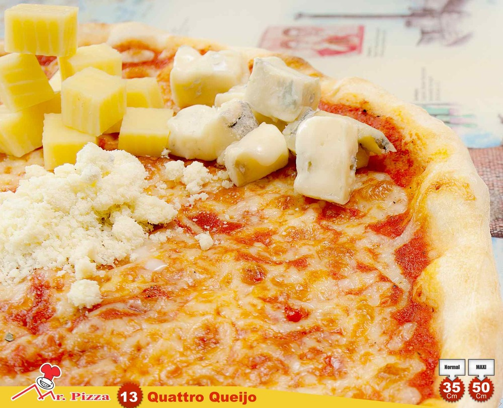 #13 - 4 Quesos  tomate . mozzarella . gorgonzola . emmenthal parmesan . oregãos