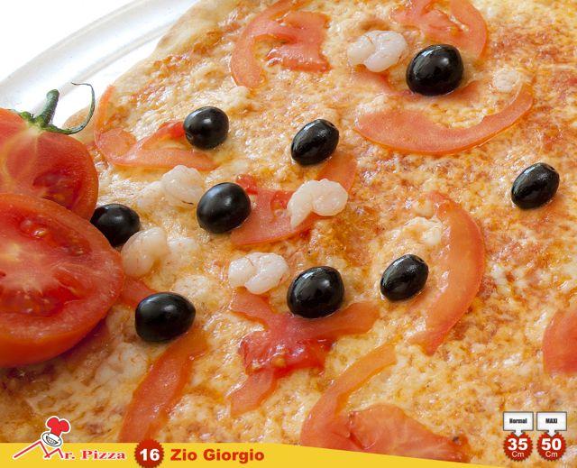#16 -Zio Giorgio tomato . mozzarella . fresh tomato . shrimp . olives . oregano